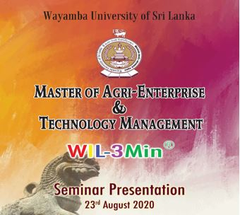 Master of Agri-Enterprise & Technology Management (MAETM)- Seminar presentation