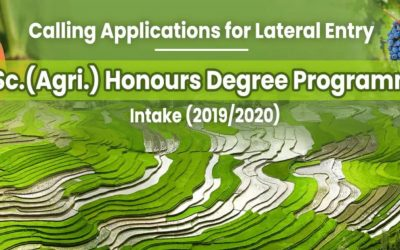 Calling Applications for Lateral Entry for B.Sc.(Agri.) Honours Degree Programme (2019/2020 Intake) – FAPM/WUSL