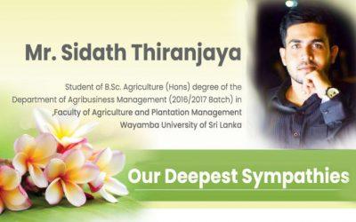 Our Deepest Sympathies: Mr. Sidath Thiranjaya